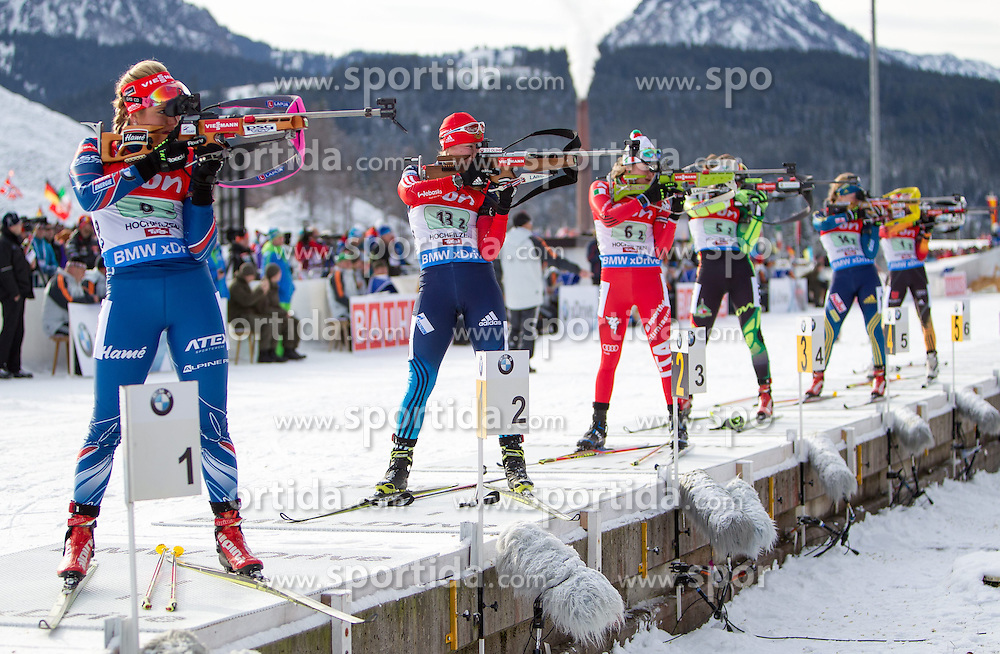 13.12.2014, Biathlonarena, Hochfilzen, AUT, E. ON IBU Weltcup, Staffel, Damen, im Bild Feature Massenstart, Schiessstand, v.l.: Gabriela Soukalova (CZE), Olga Podchufarova (RUS), Nicole Gontier (ITA) // during Womens Relay of E. ON IBU Biathlon World Cup at the Biathlonstadium in Hochfilzen, Austria on 2014/12/13. EXPA Pictures © 2014, PhotoCredit: EXPA/ JFK