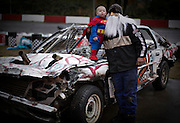 A driver and his son dressed for a Halloween day of racing at Agassiz Speedway in Agassiz, BC. (2012)
