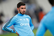 Olympique de Marseille's French midfielder Morgan Sanson warms up before the French Championship Ligue 1 football match between Olympique de Marseille and AS Monaco on January 28, 2018 at the Orange Velodrome stadium in Marseille, France - Photo Benjamin Cremel / ProSportsImages / DPPI