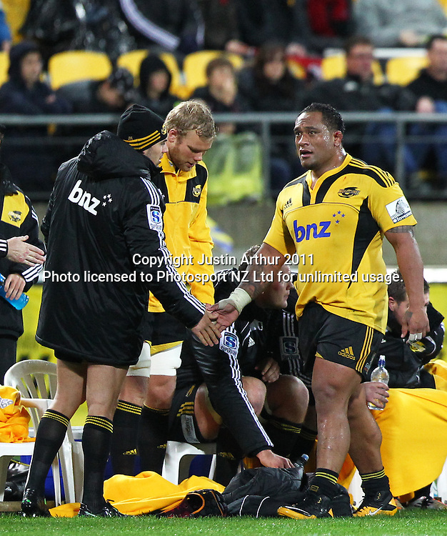 Neemia Tialata walks off the field after his last game with the Hurricanes.Super15 rugby union match - Crusaders v Hurricanes at Westpac Stadium, Wellington, New Zealand on Saturday, 18 June 2011. Photo: Justin Arthur / photosport.co.nz