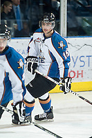 KELOWNA, CANADA, NOVEMBER 25: Adam Rossignol #15 of the Kootenay Ice warms up as the Kootenay Ice visit the Kelowna Rockets  on November 25, 2011 at Prospera Place in Kelowna, British Columbia, Canada (Photo by Marissa Baecker/Shoot the Breeze) *** Local Caption *** Adam Rossignol;
