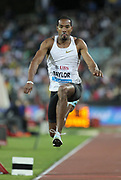 Christian Taylor (USA) wins the triple jump at 57-9 3/4 (17.62m) during the 2018 Athletissima in an IAAF Diamond League meeting at Stade Olympique de la Pontaise in Lausanne, Switzerland on Thursday, July 5, 2018. (Jiro Mochizuki/Image of Sport)