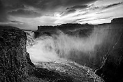 Moody weather at Dettifoss waterfalls in northern Iceland, black & white