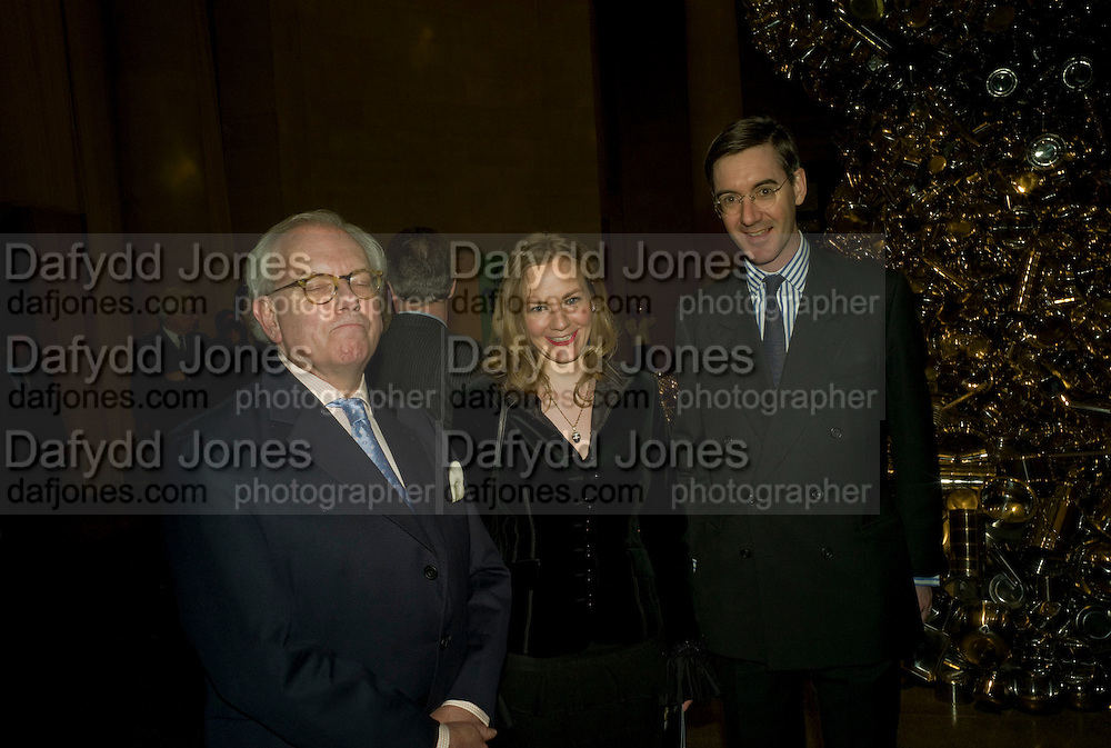 DAVID STARKEY; HELENA REES-MOGG; JACOB REES-MOGG, Van Dyck private view and dinner. Tate Britain. 16 February 2009 *** Local Caption *** -DO NOT ARCHIVE -Copyright Photograph by Dafydd Jones. 248 Clapham Rd. London SW9 0PZ. Tel 0207 820 0771. www.dafjones.com<br /> DAVID STARKEY; HELENA REES-MOGG; JACOB REES-MOGG, Van Dyck private view and dinner. Tate Britain. 16 February 2009