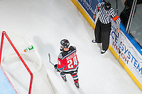 KELOWNA, CANADA - OCTOBER 31: Tyson Baillie #24 of Kelowna Rockets skates behind the net after scoring an empty net goal against the Lethbridge Hurricanes on October 31, 2015 at Prospera Place in Kelowna, British Columbia, Canada.  (Photo by Marissa Baecker/Shoot the Breeze)  *** Local Caption *** Tyson Baillie;