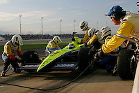 Vitor Meira pits at the Nashville Superspeedway, Firestone Indy 200, July 16, 2005