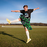 Jason Cummings of Hibs football Club photographed for The Kiltwalk promo at their training ground on Thursday 5th Feb 2015