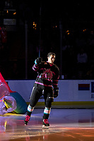 KELOWNA, BC - SEPTEMBER 21:  Alex Swetlikoff #17 of the Kelowna Rockets enters the ice for home opener against the Spokane Chiefs at Prospera Place on September 21, 2019 in Kelowna, Canada. (Photo by Marissa Baecker/Shoot the Breeze)