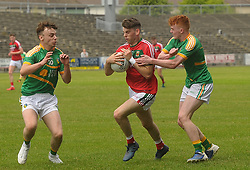 Mayo&rsquo;s Oisin McLaughlin breaks through the Leitrim defence during the Connacht U20 semi-final.<br />Pic Conor McKeown