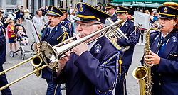 Bruges, Belgium - National Day - a marching band parades in the Grote Markt<br /> <br /> (c) Andrew Wilson   Edinburgh Elite media