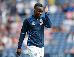 Saido Berahino of West Bromwich Albion holds his hand to his forehead  during the warm up - Rogan Thomson/JMP - 28/08/2016 - FOOTBALL - The Hawthornes - West Bromwich, England - West Bromwich Albion v Middlesbrough - Premier League.