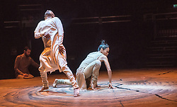 © Licensed to London News Pictures. 11/01/2016. London, UK. Khan's debut performance at the Roundhouse, Until the Lions is inspired by the ancient Sanskrit epic The Mahabharata and combines the Indian dance form Kathak with contemporary dance to explore themes of gender and sexuality. Featuring dancers Akram Khan & Christine Joy Ritter. Photo credit : Tony Nandi/LNP