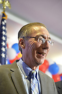 Garden City, New York, USA. November 6, 2018. JAMES GAUGHRAN, NYS SENATE SD5 winner, is on stage at Nassau County Democrats watch Election Day results event at Garden City Hotel, Long Island.