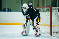 PENTICTON, CANADA - SEPTEMBER 8: Tyler Parsons #82 of Calgary Flames stands in net during  morning practice on September 8, 2017 at the South Okanagan Event Centre in Penticton, British Columbia, Canada.  (Photo by Marissa Baecker/Shoot the Breeze)  *** Local Caption ***