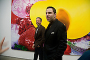 PATRICK COX AND DAVID WALLIAMS, 'Evolution', an exhibition of work by Marc Quinn. White Cube. Masoin's Yard. London. 24 January 2008. -DO NOT ARCHIVE-© Copyright Photograph by Dafydd Jones. 248 Clapham Rd. London SW9 0PZ. Tel 0207 820 0771. www.dafjones.com.