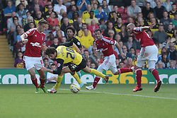 Watford's Diego Fabbrini goes down under pressure  - Photo mandatory by-line: Nigel Pitts-Drake/JMP - Tel: Mobile: 07966 386802 25/08/2013 - SPORT - FOOTBALL -Vicarage Road Stadium - Watford -  Watford v Nottingham Forest - Sky Bet Championship