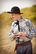 Confederate re-enactor eats during a living history event at Fort Moultrie Charleston, SC. The re-enactors are part of the 150th commemoration of the US Civil War.