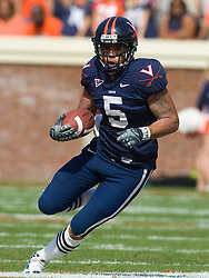 Virginia running back Mikell Simpson (5) in action against ECU.  The Virginia Cavaliers defeated the East Carolina Pirates 35-20 in NCAA football at Scott Stadium on the Grounds of the University of Virginia in Charlottesville, VA on October 11, 2008.
