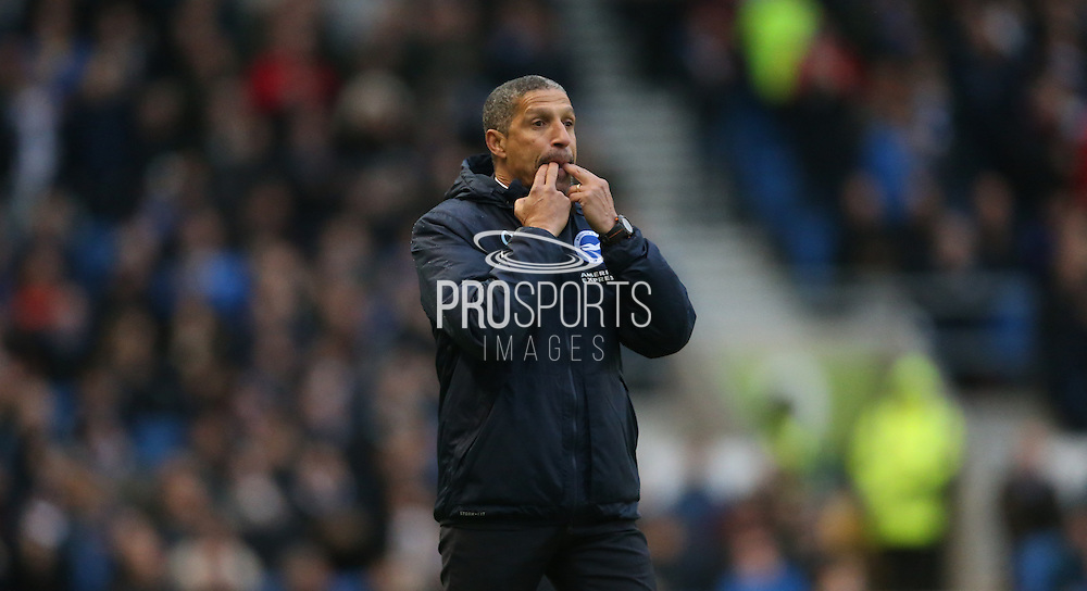 Brighton Manager, Chris Hughton whistles during the Sky Bet Championship match between Brighton and Hove Albion and Birmingham City at the American Express Community Stadium, Brighton and Hove, England on 28 November 2015.