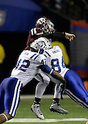 ATLANTA, GA - DECEMBER 31:  Quarterback Johnny Manziel #2 of the Texas A&M Aggies is tackled after a pass attempt by Dezmond Johnson #42 and Kenny Anunike #84 of the Duke Blue Devils during the the Chick-fil-A Bowl game at the Georgia Dome on December 31, 2013 in Atlanta, Georgia.  (Photo by Mike Zarrilli/Getty Images)