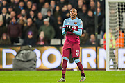 Angelo Ogbonna (West Ham) sees the reaction from Kevin Friend (Video Assistant Referee) and it stands; a goal during the Premier League match between West Ham United and Arsenal at the London Stadium, London, England on 9 December 2019.