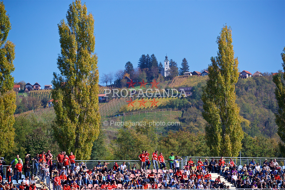 LENDAVA, SLOVENIA - Tuesday, October 17, 2017: Liverpool supporters enjoy the sunshine during the UEFA Youth League Group E match between NK Maribor and Liverpool at Športni Park. (Pic by David Rawcliffe/Propaganda)