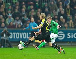 08.02.2014, Weserstadion, Bremen, GER, 1. FBL, SV Werder Bremen vs Borussia Dortmund, 20. Runde, im Bild Levent Aycicek (Bremen #28) beim Schuss zum 1:5-Endstand, Marcel Schmelzer (BVB Borussia Dortmund #29), der Abwehr // Levent Aycicek (Bremen #28) beim Schuss zum 1:5-Endstand, Marcel Schmelzer (BVB Borussia Dortmund #29), der Abwehr during the German Bundesliga 20th round match between SV Werder Bremen and Borussia Dortmund at the Weserstadion in Bremen, Germany on 2014/02/08. EXPA Pictures © 2014, PhotoCredit: EXPA/ Andreas Gumz<br /> <br /> *****ATTENTION - OUT of GER*****