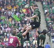 10/04/2002 - Powergen National Cup Final - Twickenham.London Irish vs Northampton..Exiles lock Steve Williams, re-directs the line out ball.
