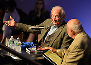 "May 11, 2013 - Garden City, New York U.S. -  Astronaut BUZZ ALDRIN, at left, the second person to walk on the moon, is in conversation with DICK DUNNE, and then signs Aldrin's new books ''Mission to Mars"" and the illustrated history of space exploration ""Look to the Stars.""  The lecture in the JetBlue Sky Theater Planetarium by Aldrin, the NASA astronaut engineer of Apollo 11 in 1969, was Sold Out, at the Cradle of Aviation Museum."