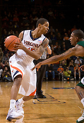 Virginia guard Sylven Landesberg (15) in action against USF.  The Virginia Cavaliers defeated the South Florida Bulls 77-75 at the University of Virginia's John Paul Jones Arena in Charlottesville, VA on November 19, 2008.
