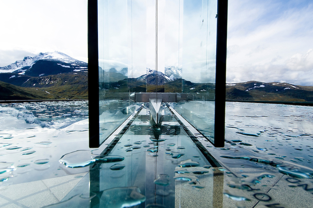 """Nedre Oscarshaug, a unique viewpoint along Sognefjellet tourist route, Norway. Contemporary architecture is expressed by the Norwegian program """"The National Tourist Routes"""". These projects aim to open up the stunning Norwegian landscape to tourists through a series of architectural viewpoints that enhance their surroundings."""