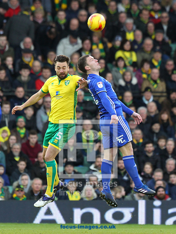 Russell Martin of Norwich and Craig Gardner of Birmingham City in action during the Sky Bet Championship match at Carrow Road, Norwich<br /> Picture by Paul Chesterton/Focus Images Ltd +44 7904 640267<br /> 28/01/2017