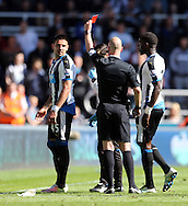 Aleksandar Mitrovic (l) of Newcastle United is shown a red card during the Barclays Premier League match at St. James's Park, Newcastle<br /> Picture by Simon Moore/Focus Images Ltd 07807 671782<br /> 15/05/2016