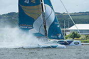 Oman Air practice racing on practice day for the Cardiff Extreme Sailing Series Regatta. 21/8/2014