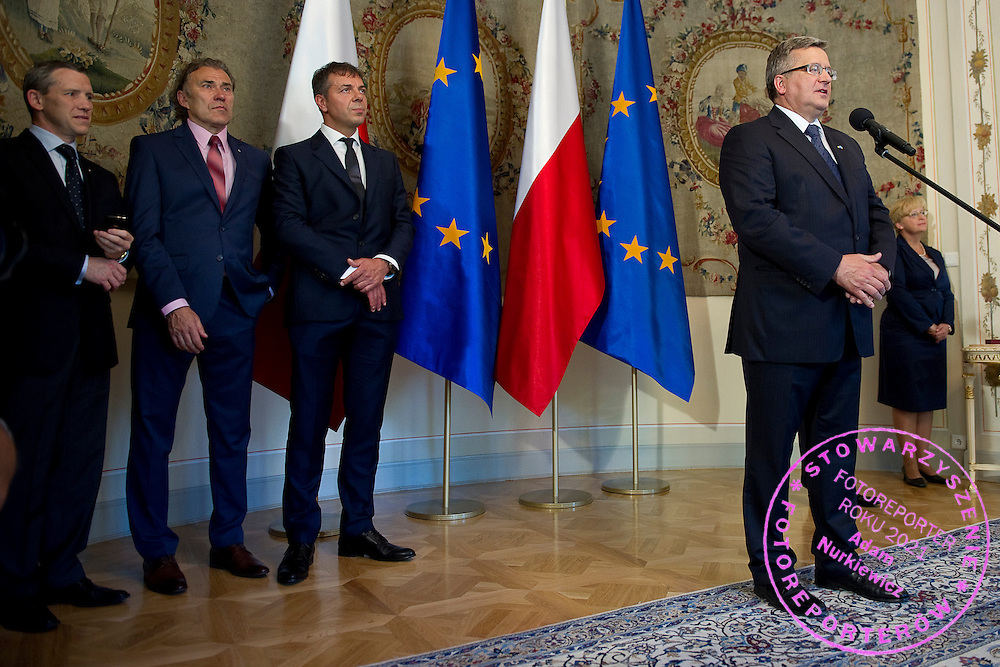 (L-R) Wojciech Andrzejewski and Jerzy Janowicz Senior and Krzysztof Suski - President of Polish Tennis Association and Bronislaw Komorowski - President of Poland during meeting in Belvedere Palace in Warsaw, Poland.<br /> <br /> Poland, Warsaw, July 08, 2013<br /> <br /> Picture also available in RAW (NEF) or TIFF format on special request.<br /> <br /> For editorial use only. Any commercial or promotional use requires permission.<br /> <br /> Photo by &copy; Adam Nurkiewicz / Mediasport