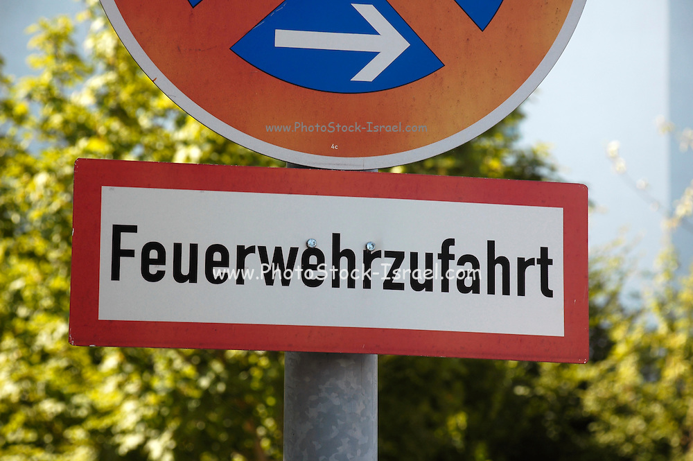 Germany,Bavaria, Munich a road sign Feuerwehrzufahrt meaning fire-brigade approach road