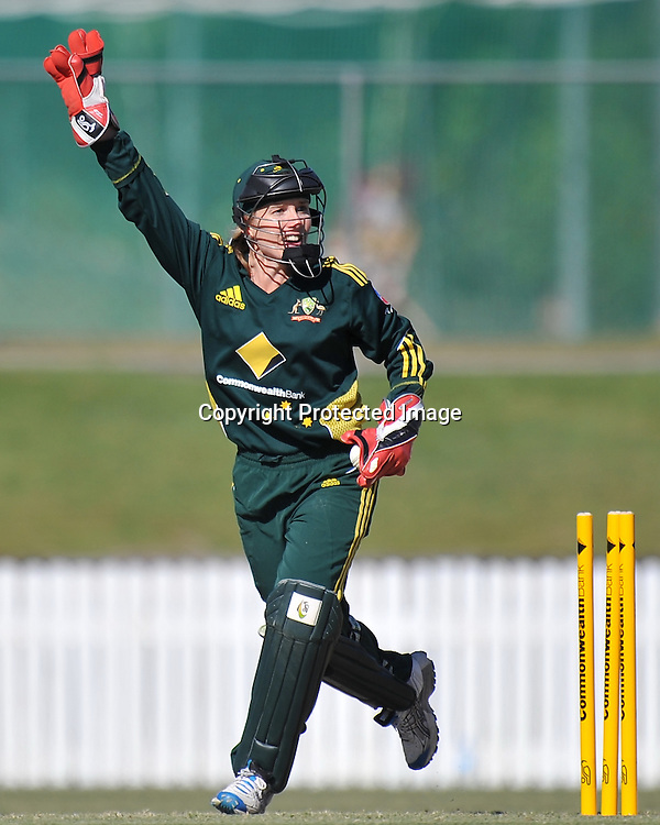 Jodie Fields appeals for the stumping of Lucy Doolan ~ Game 7 (ODI) of the Rose Bowl Trophy Cricket played between Australia and New Zealand at Alan Border Field in Brisbane (Australia) ~ Thursday 16th June 2011 ~ Photo : Steven Hight (AURA Images) / Photosport