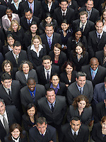 Large group of business people looking up portrait elevated view