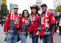 American Football - 2019 NFL Season (NFL International Series, London Games) - Houston Texans vs. Jacksonville Jaguars<br /> <br /> Houston Texans fans pose and enjoy the build up to the game at Wembley Stadium.<br /> <br /> COLORSPORT/DANIEL BEARHAM