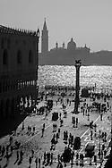 Italy. Venice. the Piazzetta , the column of the lion of san Marco and the colum of Theodore  , the lagoon and San Giorgio Maggiore church island, on the left side the ducal palace  Venice - Italy   / <br /> la Piazzetta, les colonnes du lion de san Marco et de theodore, symbole de la ville, la lagune et l eglise San Giorgio Maggiore, sur la gauche le palais des doges de san Marco  Venise - Italie