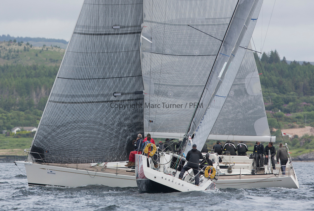 Silvers Marine Scottish Series 2017<br /> Tarbert Loch Fyne - Sailing Day 3<br /> GBR7745R, Eala of Rhu, J McGarry / C Moore, RNCYC, Swan 45.<br /> GBR1429L, Warrior, Ross Fullarton, CBSC, Archambault, A40RC
