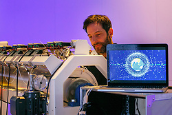 © Licensed to London News Pictures. 14/02/2017. London, UK. 'Machine 9', an electromechanical sound instrument that transforms the movement of 27,000 pieces of space junk into sound, in real time is shown to the members of public by its creator Nick Ryan for the first time at Science Museum in London on 14 February 2017. Part of the Adrift project, Machine 9 reveals the extent of space debris and matches with everyday objects. Photo credit: Tolga Akmen/LNP