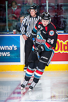 KELOWNA, CANADA - SEPTEMBER 24: Kyle Topping #24 of the Kelowna Rockets warms up with the puck against the Kamloops Blazers on September 24, 2016 at Prospera Place in Kelowna, British Columbia, Canada.  (Photo by Marissa Baecker/Shoot the Breeze)  *** Local Caption *** Kyle Topping;