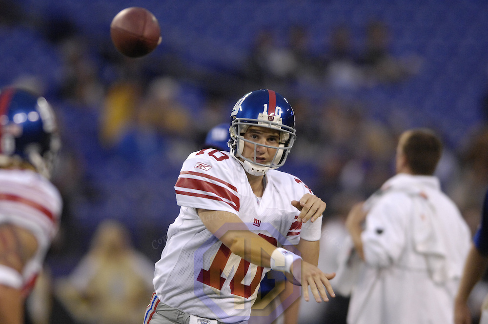 19 August 2007:  New York Giants quarterback Eli Manning (10) warms up prior to the pre season game against the Baltimore Ravens. The Giants defeated the Ravens 13-12 at M&T Bank Stadium in Baltimore, Md.