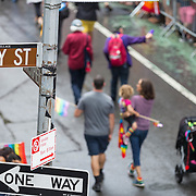 New York LGBT Pride Parade 2015, corner of Christopher Street and Gay Street, West Village