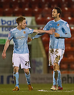 Picture by David Horn/Focus Images Ltd +44 7545 970036.15/01/2013.Nick Proschwitz (right)) of Hull City celebrates scoring with Stephen Quinn (left) during the The FA Cup match at the Matchroom Stadium, London.