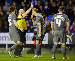 Ritchie De Laet (BEL) of Leicester City is shown a yellow card by referee S. Hooper - Photo mandatory by-line: Rogan Thomson/JMP - 07966 386802 - 14/04/2014 - SPORT - FOOTBALL - Madejski Stadium, Reading - Reading v Leicester City - Sky Bet Football League Championship.