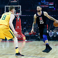 30 November 2017: Utah Jazz forward Jonas Jerebko (8) defends on LA Clippers guard Austin Rivers (25) during the Utah Jazz 126-107 victory over the LA Clippers, at the Staples Center, Los Angeles, California, USA.