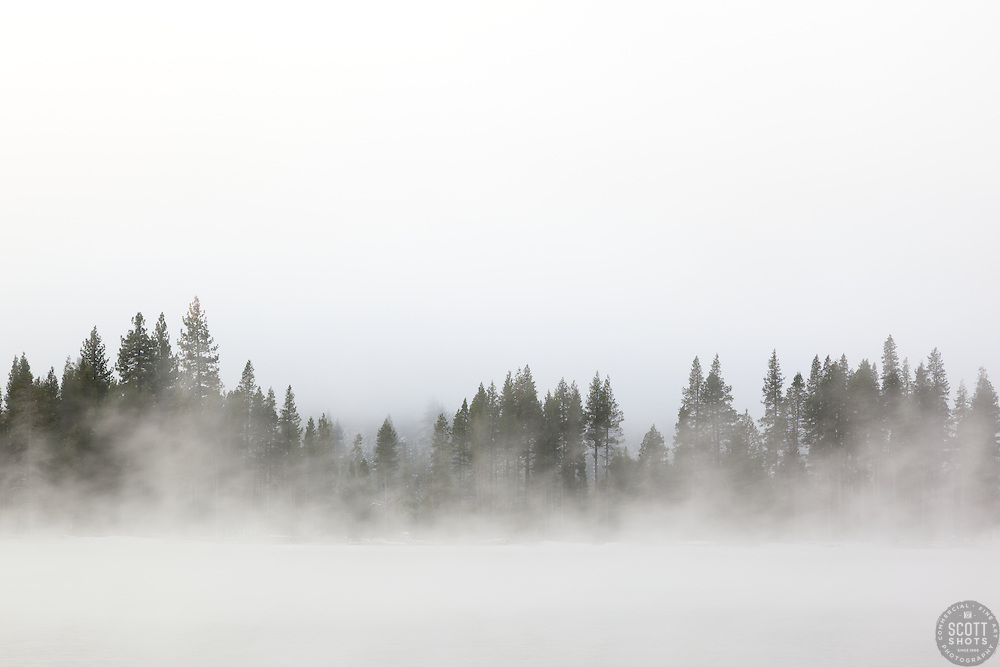 """Donner Lake Morning 13"" - Photograph of a foggy Donner Lake shot in the morning."