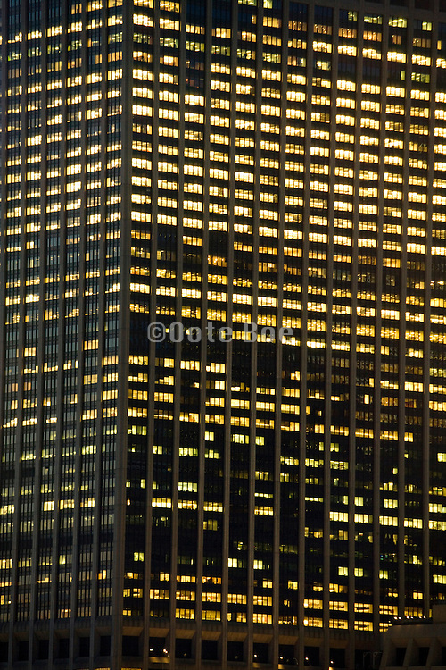 close up of office high rise in the evening Down town New York City